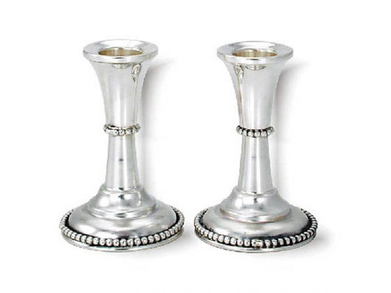 Slim Compact Shabbat Candlesticks with Two Rows of Pearls