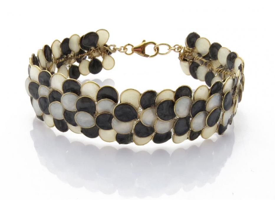 Smadar Edri Black and White Enamel Handmade Necklace, Israeli Fashion Jewelry