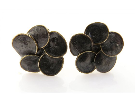 Smadar Edri Black Enamel Earrings, Fashion Jewelry