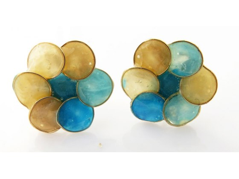 Smadar Edri Blue and Gold Enamel Earrings, Fashion Jewelry