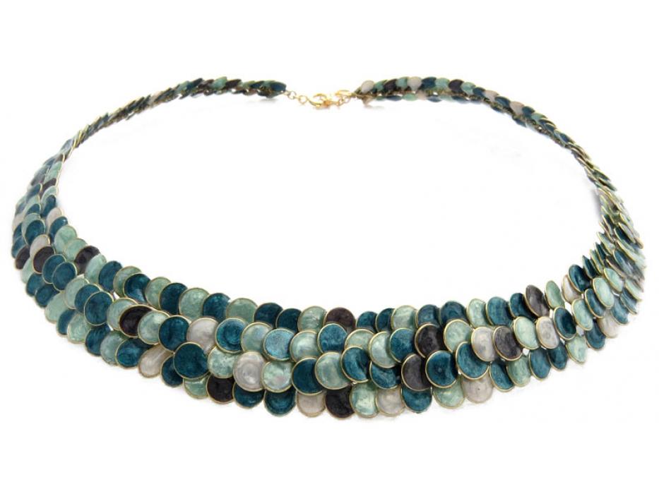 Smadar Edri Colors of the Sea Enamel Handmade Collar, Israeli Jewelry