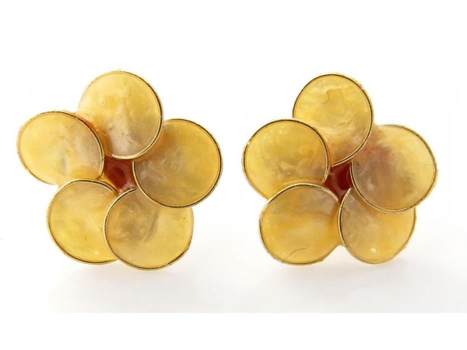 Smadar Edri Gold Enamel Earrings, Fashion Jewelry