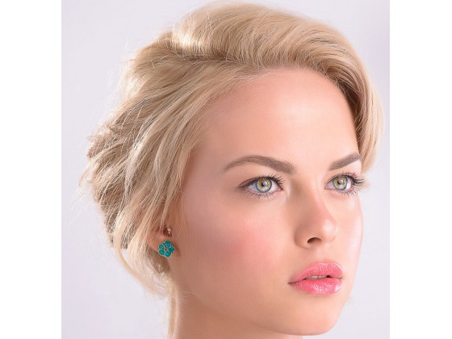 Smadar Edri Green and Pink Enamel Earrings, Fashion Jewelry