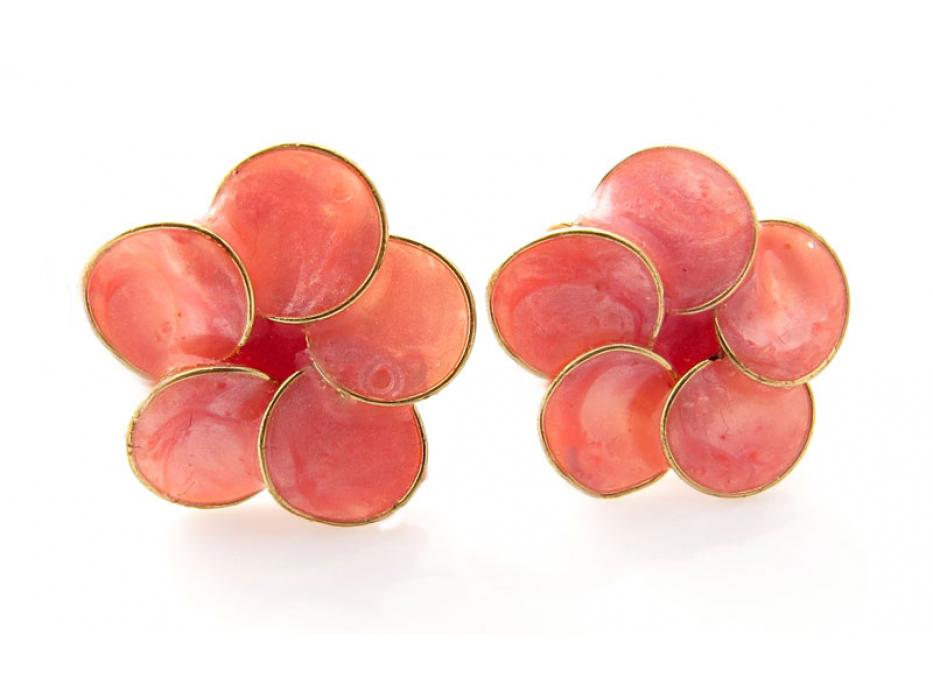 Smadar Edri Pink Enamel Earrings, Fashion Jewelry