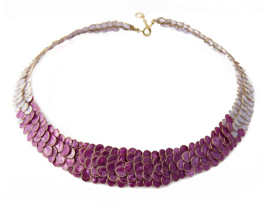 Smadar Edri Purple Enamel Handmade Collar, Israeli Jewelry