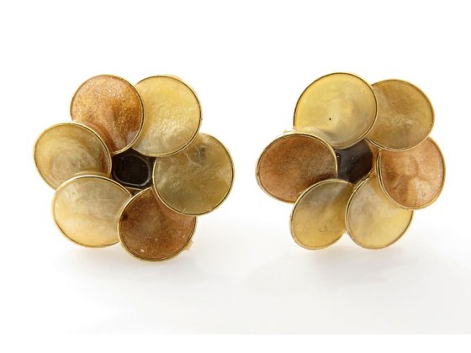 Smadar Edri Shades of Gold Enamel Earrings, Fashion Jewelry