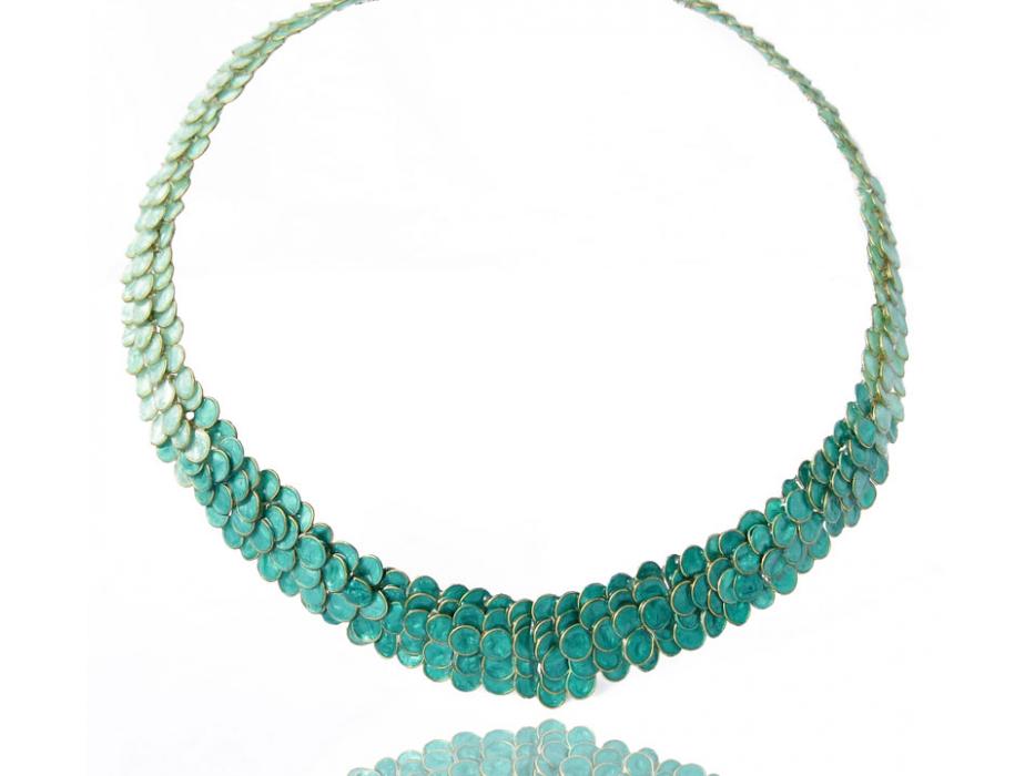 Smadar Edri Shades of Green Enamel Handmade Collar, Israeli Jewelry