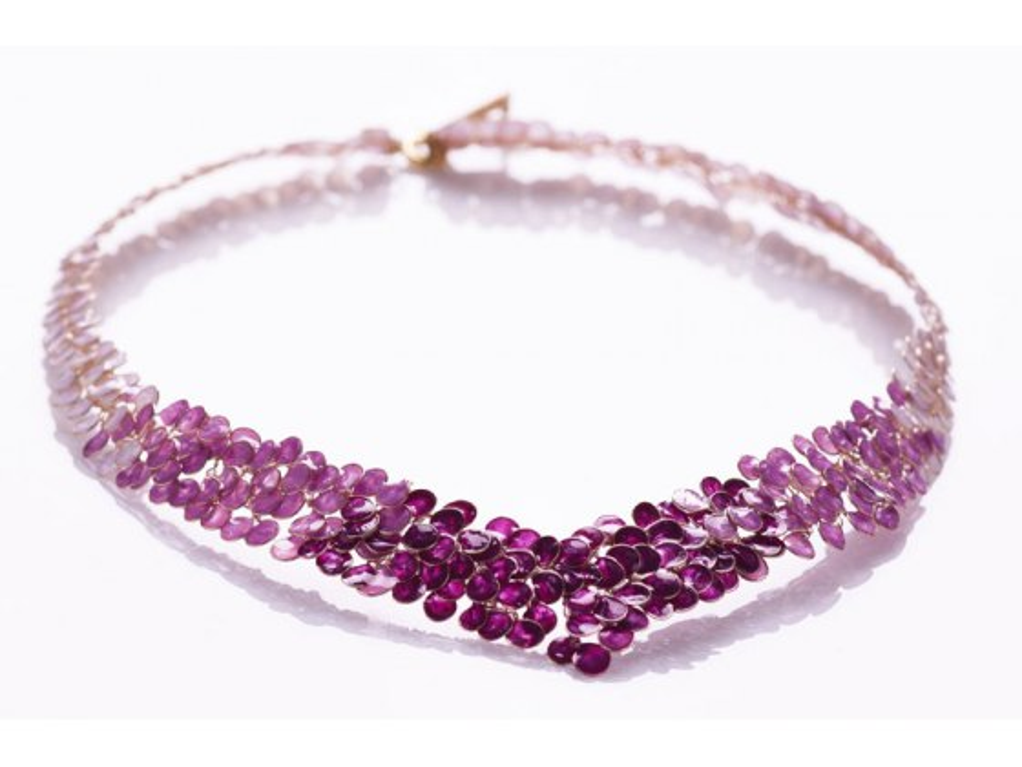 Smadar Edri Shades of Purple Enamel Handmade V Collar Necklace, Israeli Jewelry