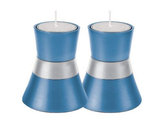 Small Blue Shabbat Candlesticks by Yair Emanuel