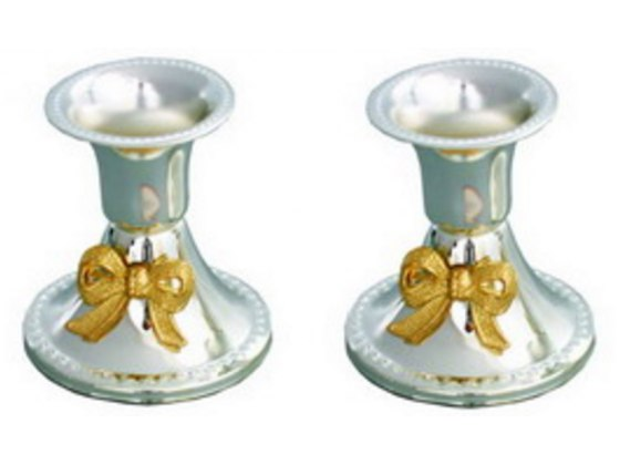 Small Gold Bow Tie Shabbat Candlesticks