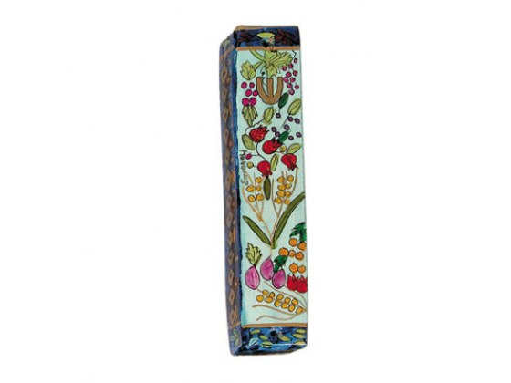 Small Painted Wood Mezuzah Case with 7 Species