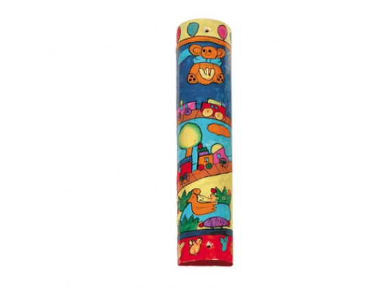 Small Painted Wood Mezuzah Case with Childrens Toys