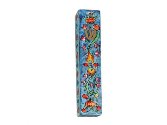 Small Painted Wood Mezuzah Case with  Flowers and Two Pomegranates in Center