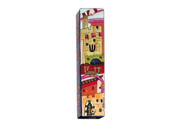 Small Painted Wood Mezuzah Case with Jerualem in Red