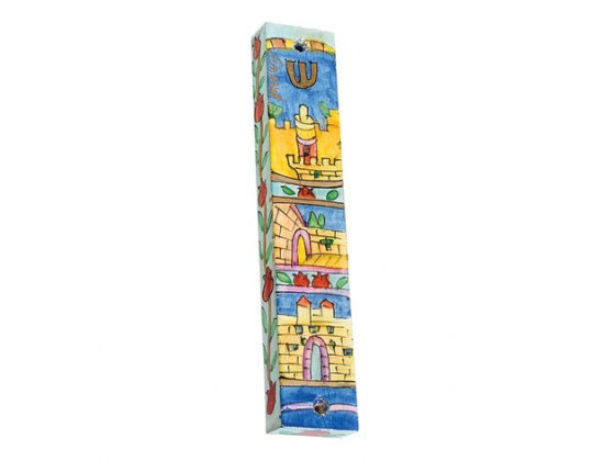Small Painted Wood Mezuzah Case with Walls of Jerusalem