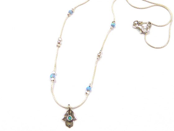 Small Silver Shablool Hamsa Necklace with Blue Stones