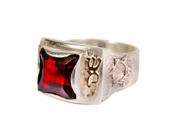 Square Shema Ring with Red Stone by Emunah