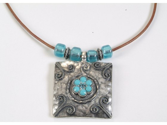 Square Silver Pendant Necklace with Swarovski Crystals - Anava Jewelry