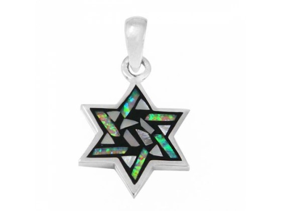Stained Glass Design Star of David Necklace Silver & Opal