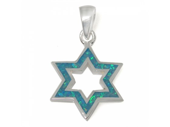 A stand out Star of David Necklace, Silver & Opal