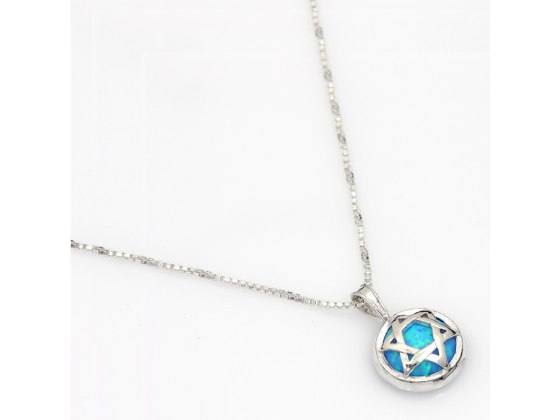 Star of David Necklace with Blue Opal
