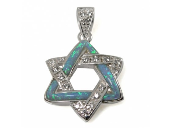 The Star of David Necklace with an Edge, Silver & Opal