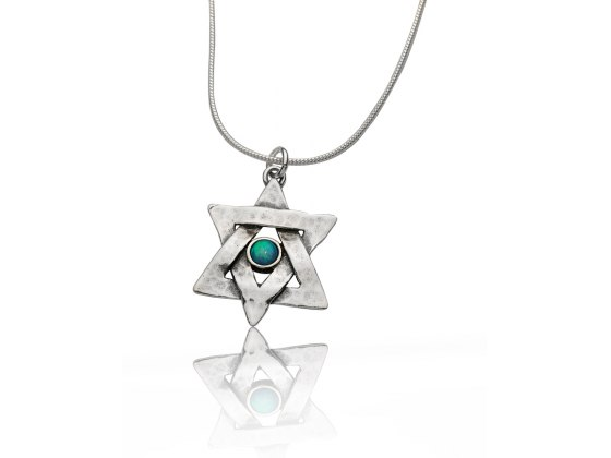 Star of David Necklace Hammered Silver and Opal