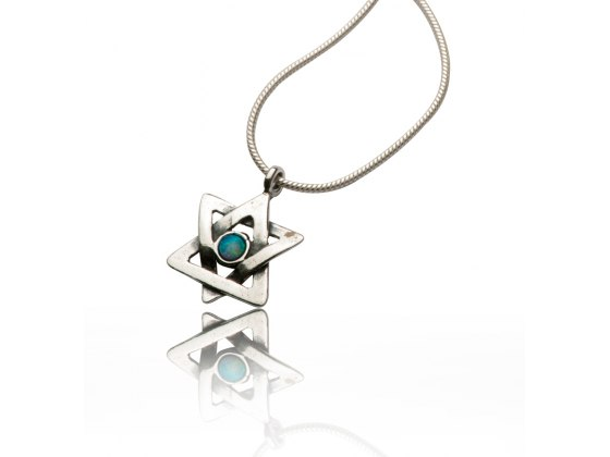 Star of David Necklace Silver and Opal Wave Design