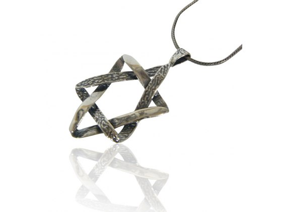 Star of David Necklace Textured Triangle Design