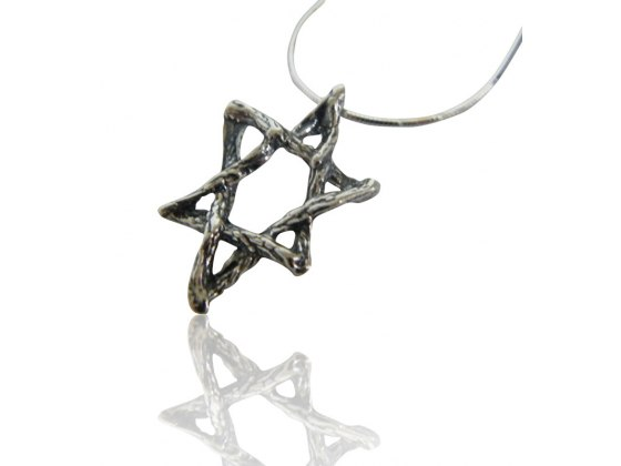 Star of David Necklace Twine-like Textured Silver