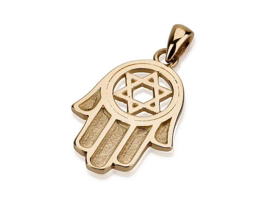 14K Gold Engraved Hamsa, Star of David Pendant