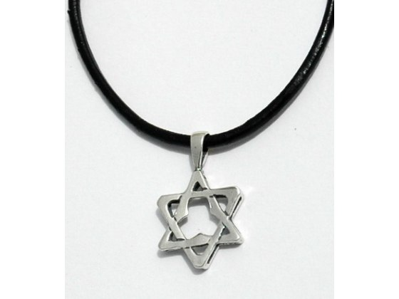 Buy star of david pendant necklace leather rope or silver chain sterling silver star of david pendant necklace aloadofball Choice Image