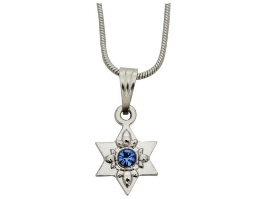 Star of David Rhodium Pendant With Blue Stone