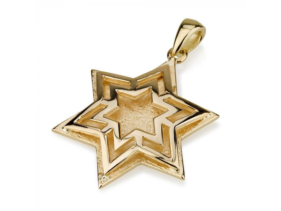 Star Within Star Design 14K Gold Star of David Pendant