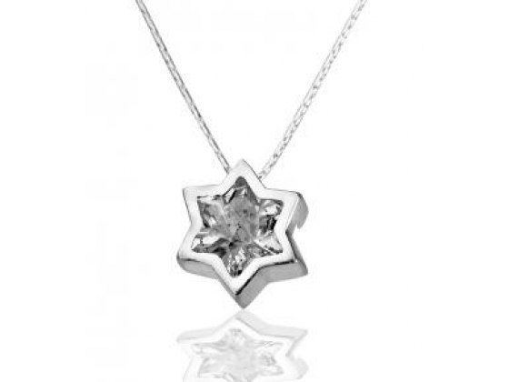 Sterling Silver and Crystal, Star of David Necklace