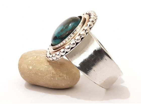 Sterling and Silver Goldfield Round Framd with Eilat Stone Ring