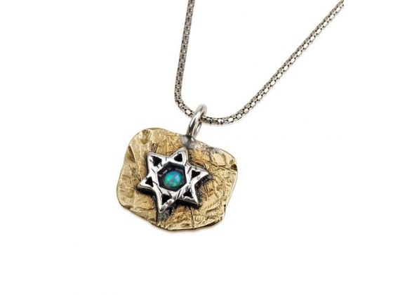 Sterling Silver and Opal on Brass, Star of David Necklace