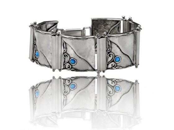 Sterling Silver and Opal Cuff Bracelet
