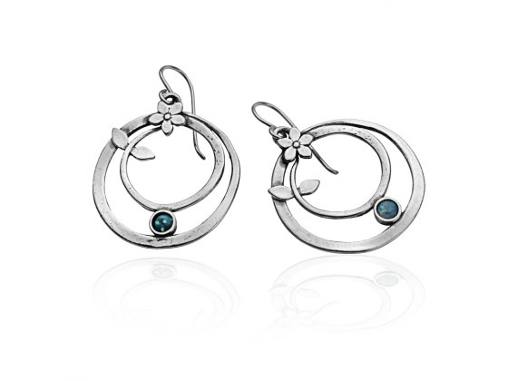 Sterling Silver and Opal Fashion Earrings