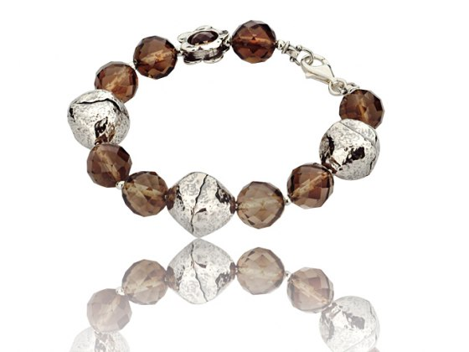 Sterling Silver and Quartz Beads Bracelet