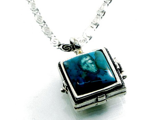 Sterling Silver and Turquoise Square Psalms Pendant - Emunah