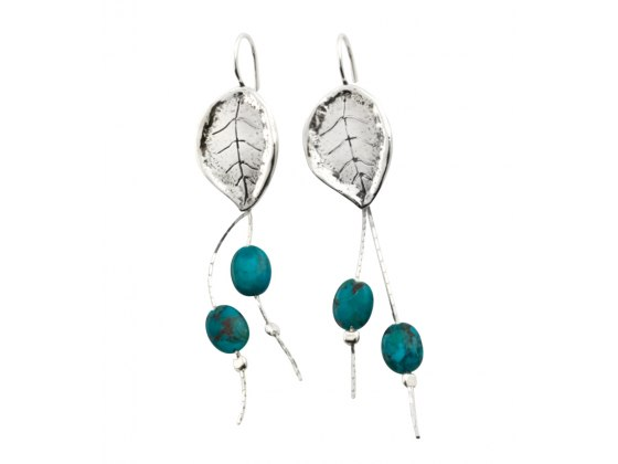 Sterling Silver and Turquoise Stone Leaf Earrings