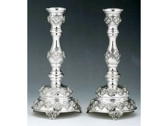 Sterling Silver Candlesticks by Hadad - Raised Grape Bunches, Footed Round Base