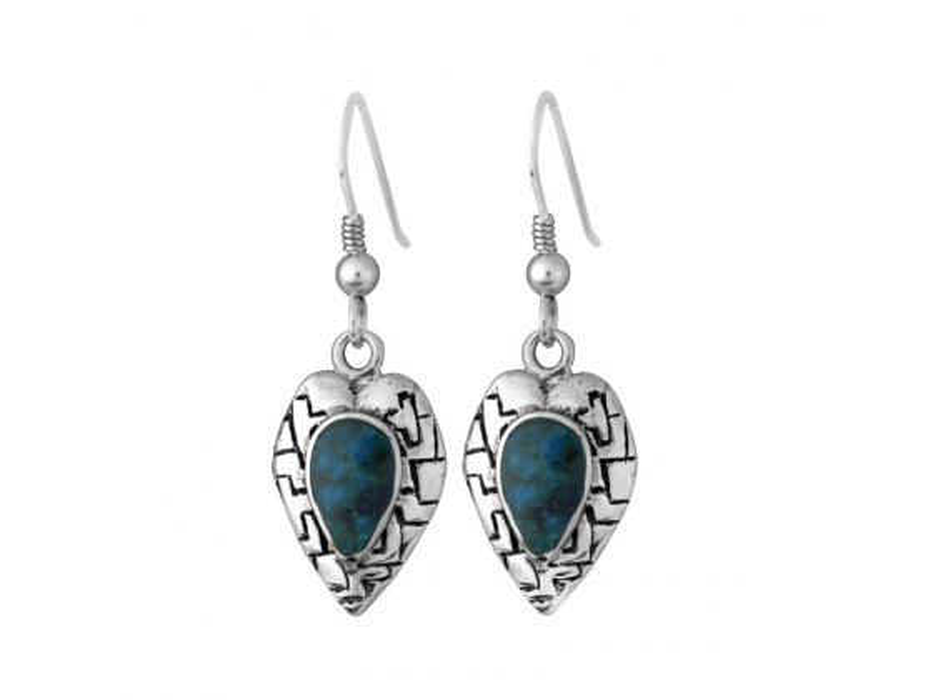 Sterling Silver Eilat Stone Heart Western Wall Earrings