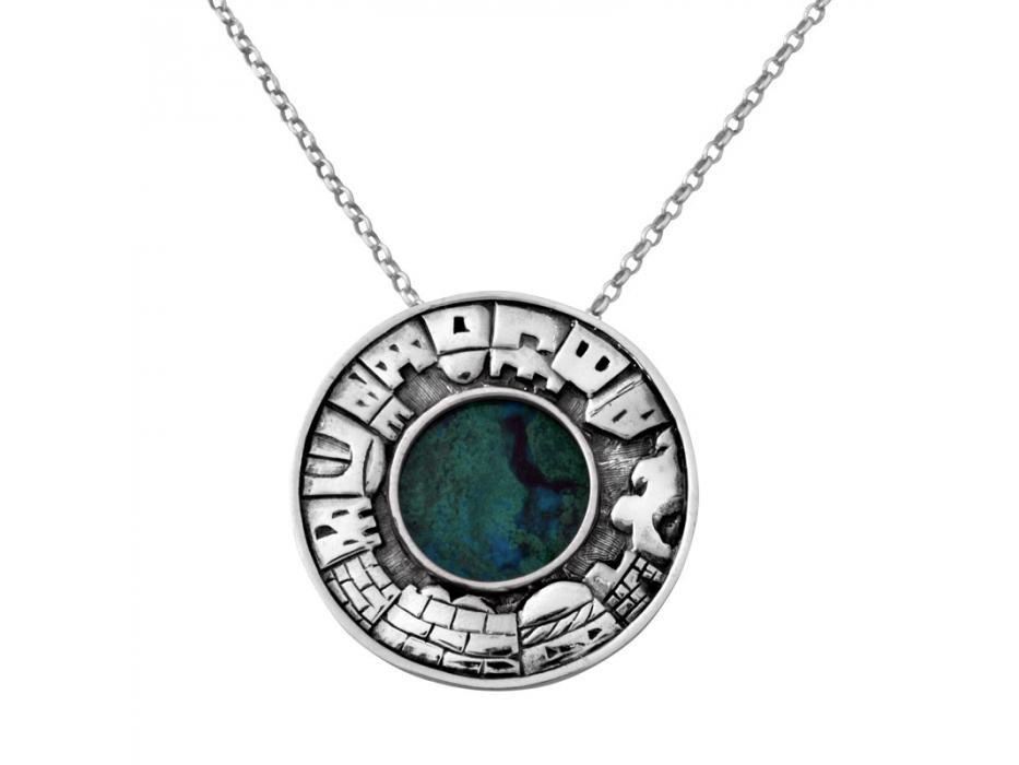 Sterling Silver Eilat Stone Round Necklace with Jerusalem Frame