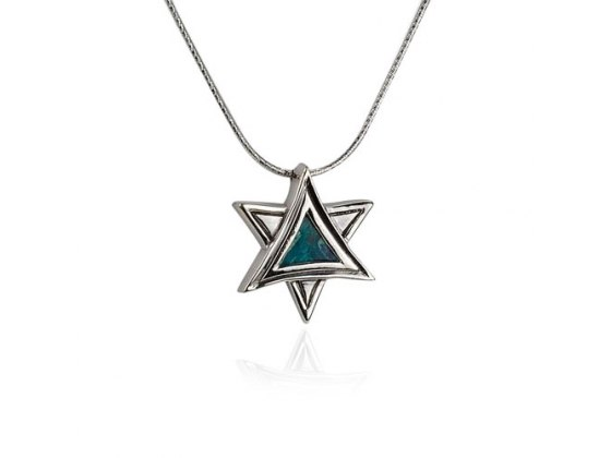 Sterling Silver Eilat Stone Star of David Triangles Necklace