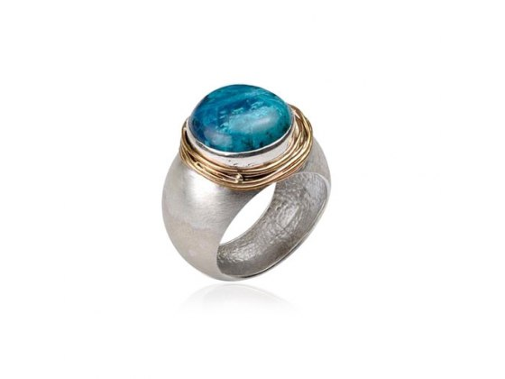 Sterling Silver Eilat Stone Wide Round Ring with Gold Frame