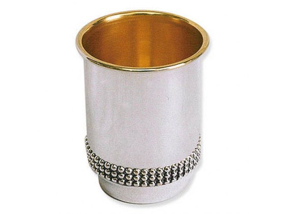 Sterling Silver Flat Bottom and Rim with Pearl Ornamente , Kiddush Cup