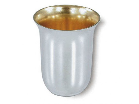 Sterling silver Flat Bottom Wide Rim Elegant Design, Kiddush Cup