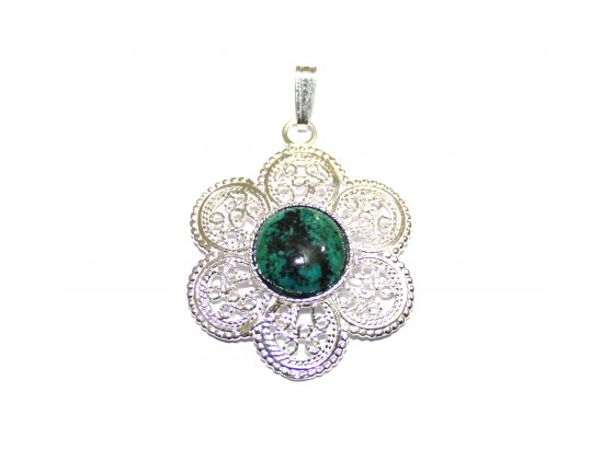 Sterling Silver Flower and Eilat Stone Pendant